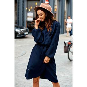 Tmavě modré zavinovací šaty L345