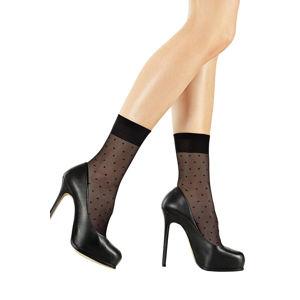 Čierne bodkované silónkové ponožky Forte SL-716