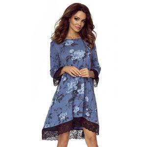 Modré květované šaty M53613