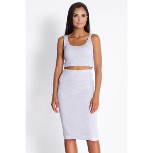 Světle šedý set top + sukně Milan