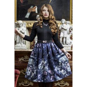 Tmavě modrá vzorovaná midi sukně Mysterious Garden