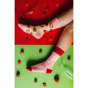 Béžovo-růžové ponožky Champagne & Strawberry