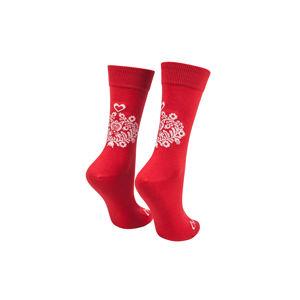 Červené ponožky Lidové Srdiečko červené