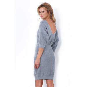 Šedé světrové šaty F640