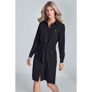 Černé košilové šaty M706
