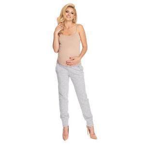 Světle šedé těhotenské těplákové kalhoty 0173