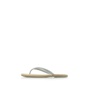 Stříbrné kožené pantofle 1-27124