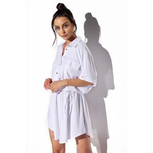 Bílé košilové šaty L338