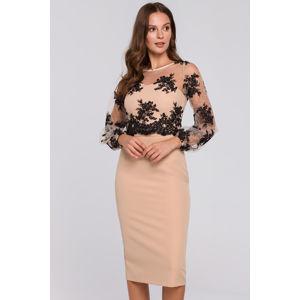 Béžové šaty K013