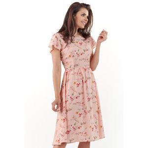 Světle růžové květované šaty A218