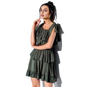 Olivově zelené šaty s volány L336