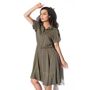 Olivově zelené košilové šaty L331