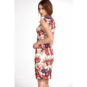 Vícebarevné květované šaty S108