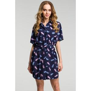Tmavě modré šaty s peříčky M385