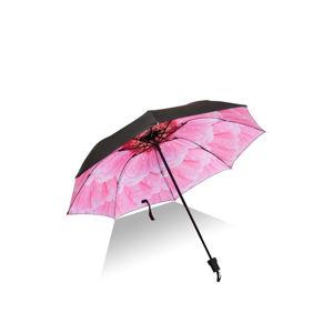 Růžovo-černý skládací deštník Margarette