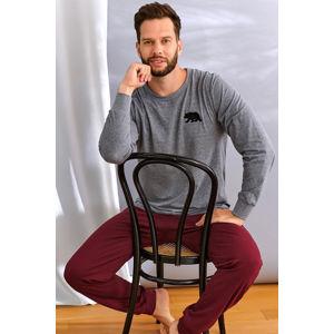 Pánské bordovo-šedé pyžamo PMB9509
