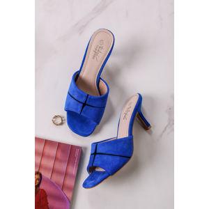 Modré semišové sandály na tenkém podpatku Clemence
