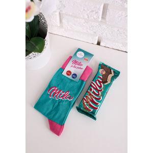 Modro-růžové ponožky Mila + oblátky Mila