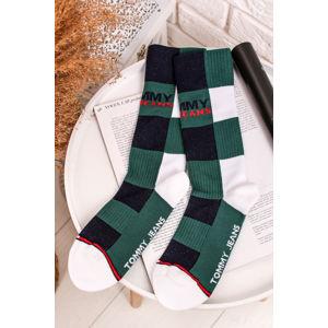 Zeleno-bílé ponožky Tommy Jeans Sock