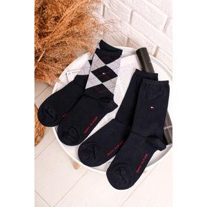 Tmavě modré ponožky Check Sock - dvojbalení