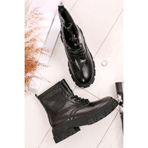 Černé šněrovací kotníkové boty Tessie
