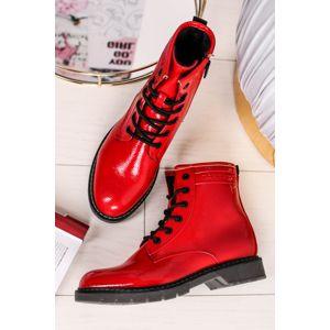Červené šněrovací kotníkové boty 9092802