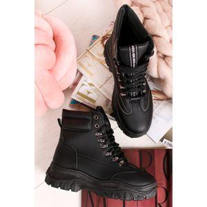Černé šněrovací kotníkové boty Joy