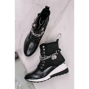 Černé platformové šněrovací boty Madlen