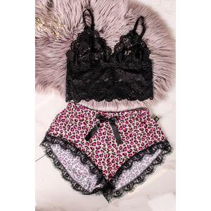 Černo-leopardí krajkové pyžamo Leopard Bralet Set