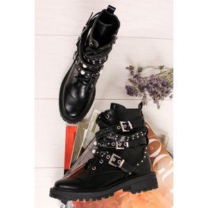 Černé šněrovací kotníkové boty Zaira