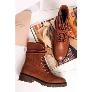 Skořicové šněrovací kotníkové boty Caelle