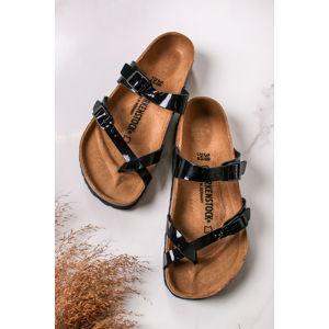 Černé lakované pantofle Mayari BF Patent