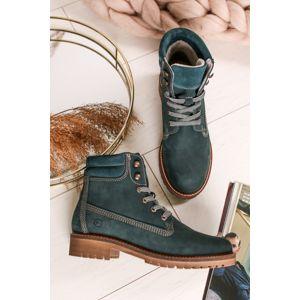 Tmavě zelené kožené šněrovací boty 1-25242
