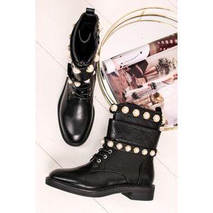 Černé šněrovací kotníkové boty Affie