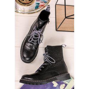 Černé kožené šněrovací kotníkové boty 1-25865