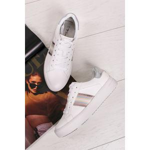 Bílo-stříbrné nízké tenisky 1-23750