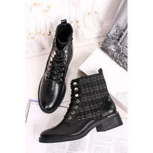 Černé šněrovací kotníkové boty Bessy