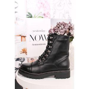 Černé šněrovací kotníkové boty Poline