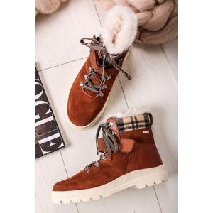 Skořicové kožené šněrovací boty 9-26211