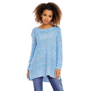 Světle modrý prodloužený pulovr 70005