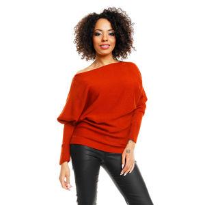 Červený prodloužený pulovr 70003
