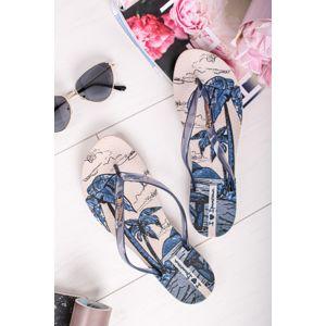 Béžovo-modré gumové pantofle Wave Natural