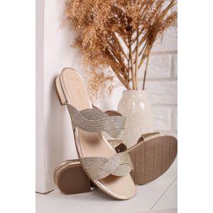 Zlaté pantofle na nízkém podpatku 2-27121