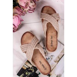Béžové platformové pantofle Irene