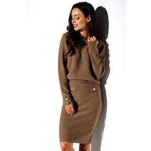 Hnědý set pulovr + sukně LSG118