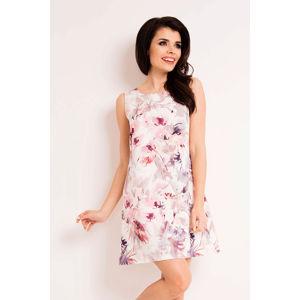 Bílo-růžové květované šaty M122