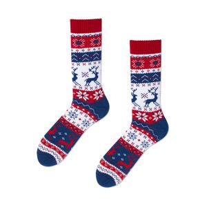 Modro-bílé ponožky Warm Rudolf