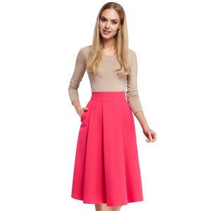 Růžová midi sukně MOE 302