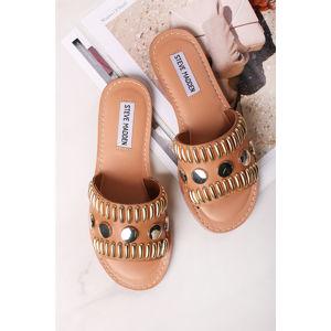 Skořicové kožené pantofle Rostor