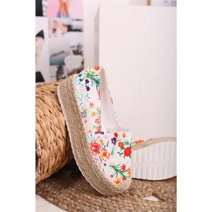 Bílé květované platformové espadrilly Deena